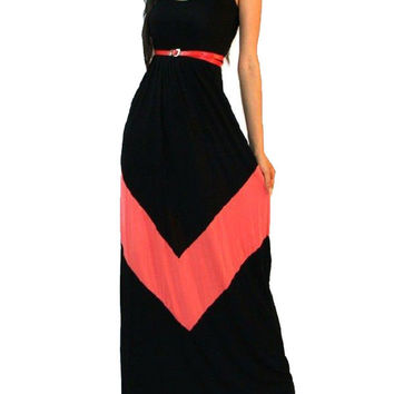 Striped Sleeveless Sheath A-line Pleated Maxi Dress
