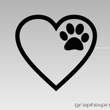 Heart Paw Print Decal - C2272