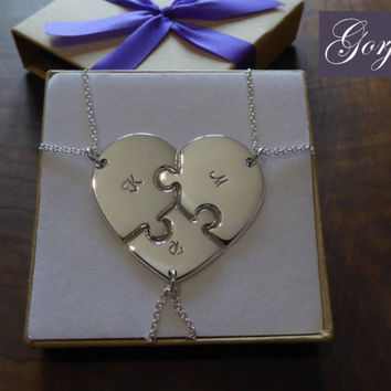 Three Piece Heart Puzzle with Initials, best friend puzzle heart pendant necklaces