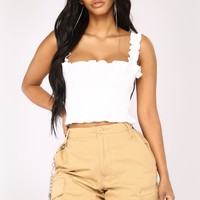 Feelin Cute Smocked Top - White