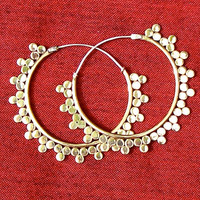 Brass and silver sun ray earrings