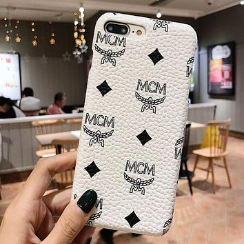 MCM Classic Popular Women Men Hard Mobile Phone Cover Case For iphone 6 6s 6plus 6s-plus 7 7plus 8 8plus X XsMax XR White