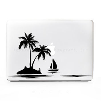 Palm Island Boat Sticker Decal for Mac PC Laptops - Many Sizes Available - 15+ Colors