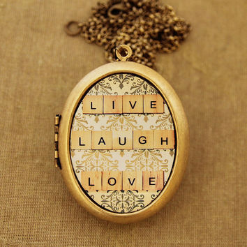 Live Laugh Love -Happy Quote Motivational Grande Photo Locket Necklace