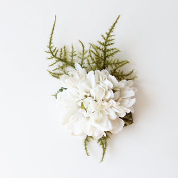 Bridal Fascinator, Hair Clip, Ivory Head Piece, Flower Hair Piece, Wedding Hair Accessory, Woodland, Rustic style - FERN