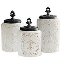 American Atelier Antique 3-Piece Canister Set in White