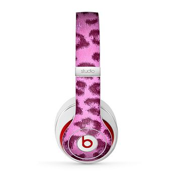 The Neon Pink Cheetah Animal Print Skin for the Beats by Dre Studio (2013+ Version) Headphones