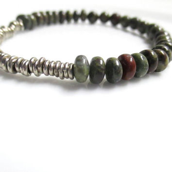 African Bloodstone And White Brass Stretch Bracelet, Elastic beaded bracelets, Stretch bracelets, Meditation Bracelet, Bead bracelet