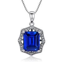 Sterling Silver 4ct Emerald-Cut Sapphire Pendant Necklace