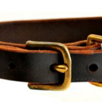 "Dean and Tyler ""B and B"", Basic Leather Dog Collar with Solid Brass Hardware - Brown - Size 30 by 1-Inch - Fits Neck 28-Inch to 32-Inch"