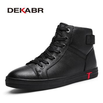 DEKABR Genuine Leather Men Waterproof  Boots Fashion High Top