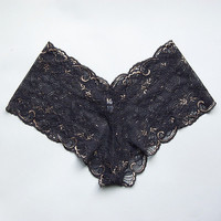 Lace Knickers in Black and Gold by Brighton Lace