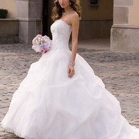 Organza Gathered Wedding Dress with Beaded Lace from Camille La Vie and Group USA