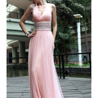 Pink A-line V-neck Floor Length Rhinestones Tulle Evening  Dress -SinoSpecial.com