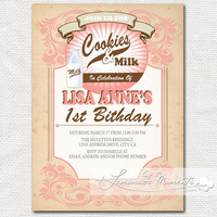 Vintage Cookies and Milk Invitation  Printable by lemonademoments