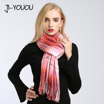 winter ladies scarves women high fashion poncho red plaid scarf poncho capes warm cotton women's knit wool scarf crinkle hijab