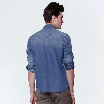 Autumn Thin Denim Men Shirt Long sleeve Slim Casual Outerwear Washed Top Cowboy Shirt Men
