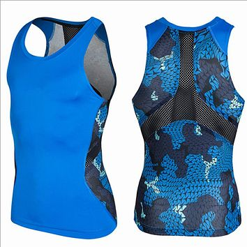 Men's Summer Tank Tops 3D Print Breathable Mesh Patchwork Vest Fitness Men Sleeveless Tee Shirts Bodybuilding Brand Clothing