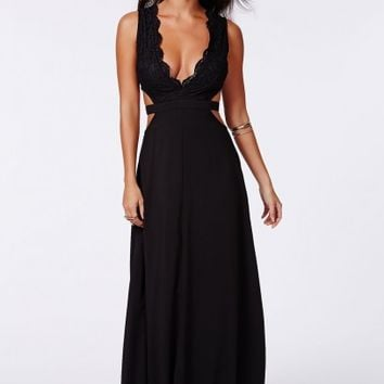 Missguided - Bakiya Black Lace Cut Out Maxi Dress