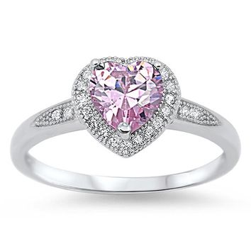 Sterling Silver Women's Pink Cubic Zirconia Wedding Solitaire Halo Heart Ring (Sizes 4-10)