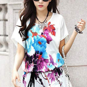 Floral Print Short Sleeve Long Chiffon Blouse