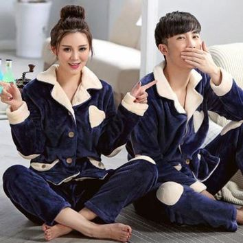 ONETOW Lovers Casual Pajamas Set For Women Men Navy Blue Nightgown Winter Pyjamas Thick Flannel Turn-down Collar Sleepwear Unisex Adult