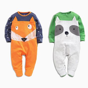 New 2018 Spring Cartoon Cotton Long Sleeve Newborn Clothes Infant Baby Rompers Boys Girls Clothes New Year Kids Clothing Outfits