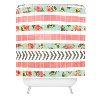 Allyson Johnson Floral Stripes And Arrows Shower Curtain