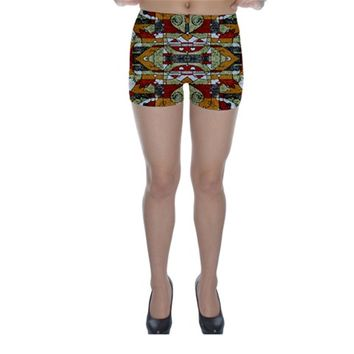 Multicolored Abstract Tribal Print Skinny Shorts