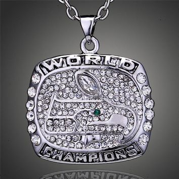 Cool sport Plated Seattle Seahawks Super Bowl Trophy Replica Pendant Necklace Men Fashion Jewelry Charms