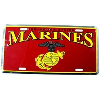 "Military United States Marines Semper Fi Patriotic 6"" x 12"" Embossed Aluminum License Plate by Tromic Gifts"