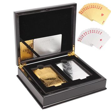 2 set Sliver Gold Foil Playing Cards Poker Gold Foil Plated Poker Cards With Wooden Box