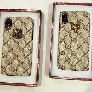 GUCCI Popular Unisex Cute Letter Print With Stick The Fox Head Tiger Head iPhone Phone Cover Case For iphone 6 6s 6plus 6s-plus 7 7plus + Best Gift