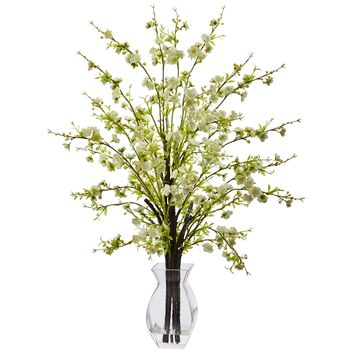 Artificial Flowers -White Cherry Blossom In Glass Vase Silk Flowers