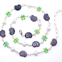 Purple Czech glass shell sterling silver fill wire wrap necklace White ivory faux pearl Lime green lampwork bead Long violet chain wirewrap