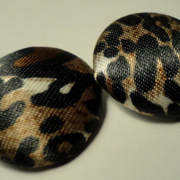 Cheetah Print Button Stud Earrings