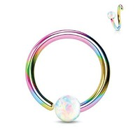 Nose Ring Hoop Tragus Helix Earring Opal Stone Rainbow Stainless Steel 16G Piercing Jewelry