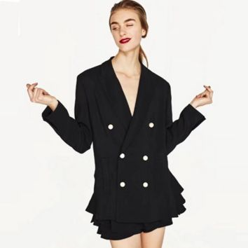 Women Simple Fashion Bodycon Double Row Buttons Cardigan Long Sleeve Suit Coat