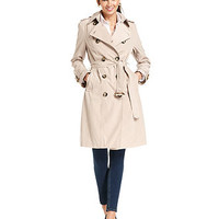 London Fog Petite Coat, Double-Breasted Belted Trench - Petite Coats - Women - Macy's