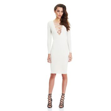 Sexy Women Plunge V Neck Criss Cross Strap Design Long Sleeve Bodycon Midi Dress