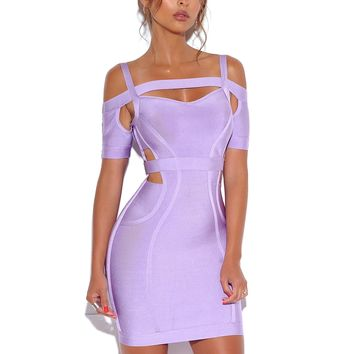 Cutout Detail Lavender Off Shoulder Bandage Dress