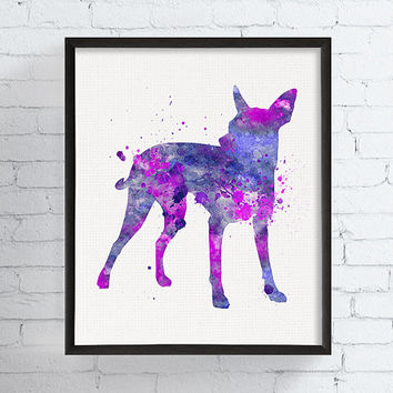 Watercolor Miniature Pinscher, Miniature Pinscher Art Print, Miniature Pinscher Poster, Min Pin, Watercolor Dog Art, Dog Decor, Dog Lover