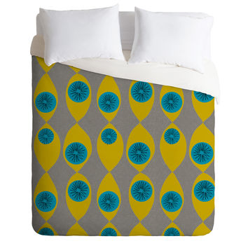 Mummysam Blue And Yellow Flower Duvet Cover