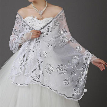White Red Bridal Shrug Wedding Evening Wrap Bolero Jacket Womens Fashion Wedding Lace Shawl white sequins applique Wedding Shawl
