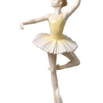 Confidence En L'Air Ballet Pose Porcelain Figurine  in Yellow Statue