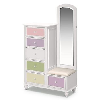 Colorworks White Kids Furniture Tall Chest & Mirror