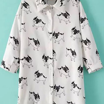 White Dogs Print Shirt Collar Long Sleeve Blouse