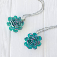 Blue Purple Succulent Planter Necklace Pendant mini succulent plants arrangement Succulent Jewelry mother's day mom gifts for mums