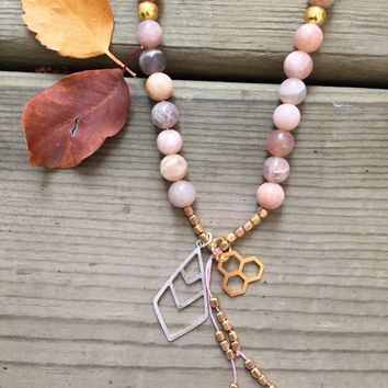 Peach Moonstone Gemstone Gold, Canadian Made, Earth Jewelry, 108 Mala Beads, Yoga Meditation Jewelry, Bohemian Necklace, Healing Crystals