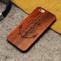 Retro Anchor Nature Wood/Wooden Cover Case for Apple iPhone 5 5s SE 6 6s 6 Plus 6s Plus